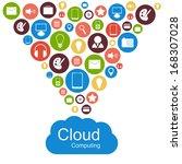 vector cloud computing concept. ... | Shutterstock .eps vector #168307028