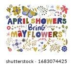 floral color vector lettering... | Shutterstock .eps vector #1683074425