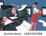 screaming boss and secretary... | Shutterstock .eps vector #1683182488