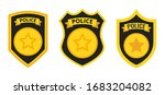 Police Badges Set. Isolated On...