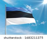 Estonia National Flag Waving In ...