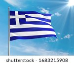 Greece National Flag Waving In...