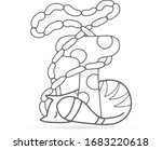 doodle sleeping cat dreams... | Shutterstock .eps vector #1683220618