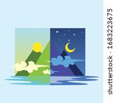 comparison of day and night | Shutterstock .eps vector #1683223675