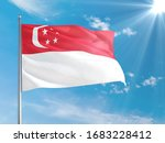 Singapore National Flag Waving...