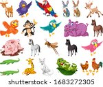 set of many cute animals on... | Shutterstock .eps vector #1683272305