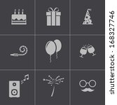 vector black birthday icons set | Shutterstock .eps vector #168327746