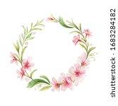 watercolor wreath of pink... | Shutterstock . vector #1683284182