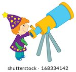 a boy stargazer with a telescope | Shutterstock .eps vector #168334142