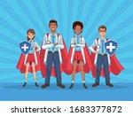 super doctors staff with hero... | Shutterstock .eps vector #1683377872