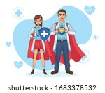 super doctors couple with hero... | Shutterstock .eps vector #1683378532