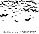 scary black bats flock isolated ... | Shutterstock .eps vector #1683391942