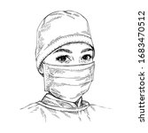 sketch doctor wearing medical... | Shutterstock .eps vector #1683470512