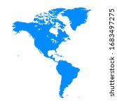 America Continent Maps In Blue...