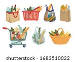 shopping or wicker basket and... | Shutterstock .eps vector #1683510022