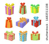 colored gift boxes with ribbon. ... | Shutterstock .eps vector #1683511108