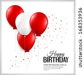 birthday card with balloons and ... | Shutterstock .eps vector #168353936