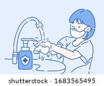 cute girl washing hands with... | Shutterstock .eps vector #1683565495