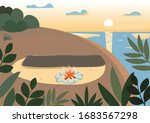 beach at night flat color... | Shutterstock .eps vector #1683567298