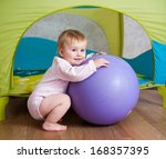 cute little girl playing with... | Shutterstock . vector #168357395