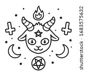 cute satan sign drawing ... | Shutterstock .eps vector #1683575632