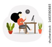 work from home. freelance woman ... | Shutterstock .eps vector #1683580885