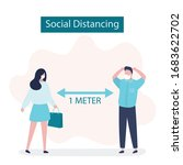 social distancing  two people...   Shutterstock .eps vector #1683622702