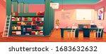 library interior  empty room... | Shutterstock .eps vector #1683632632