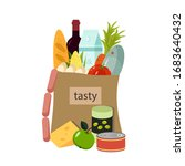 products in a paper bag.... | Shutterstock .eps vector #1683640432