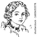 an young lady face  vintage...   Shutterstock .eps vector #1683653578