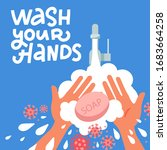 pair of hands washing using... | Shutterstock .eps vector #1683664258