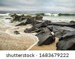 Seashore Scene With A Rock...