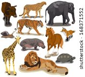 set with animals on white... | Shutterstock .eps vector #168371552