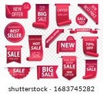 price tags  red ribbon banners. ... | Shutterstock .eps vector #1683745282