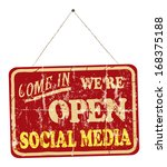 social media open sign  vintage ... | Shutterstock .eps vector #168375188
