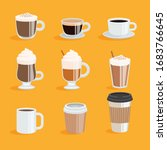 set of coffee cups. coffee menu ... | Shutterstock .eps vector #1683766645