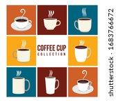 flat coffee set. vector... | Shutterstock .eps vector #1683766672