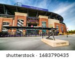 Small photo of ATLANTA - MARCH 26: An entrance to Truist Stadium in Atlanta, Georgia, on March 26, 2020. The stadium is a ballpark and the home field of Major League Baseball's Atlanta Braves.
