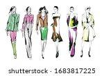 beautiful young women in modern ... | Shutterstock .eps vector #1683817225