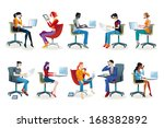 set of working men and women... | Shutterstock .eps vector #168382892