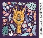giraffe cute doodle hand drawn...   Shutterstock .eps vector #1683871792