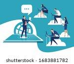 e learning. education via the... | Shutterstock .eps vector #1683881782