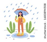 Woman Standing In Rain With...