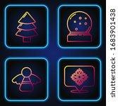 set line snowflake with speech... | Shutterstock .eps vector #1683901438