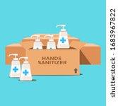 stock of hands sanitizer on the ... | Shutterstock .eps vector #1683967822