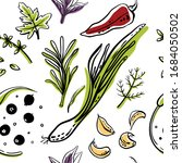 seamless pattern with herbs and ... | Shutterstock .eps vector #1684050502