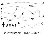 collection of airplane route ...   Shutterstock .eps vector #1684063252