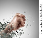 concept. power fist coming out... | Shutterstock . vector #168414752