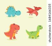 funny cartoon dinosaurs vector...   Shutterstock .eps vector #1684166335