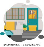 box with order is on the steps  ...   Shutterstock .eps vector #1684258798
